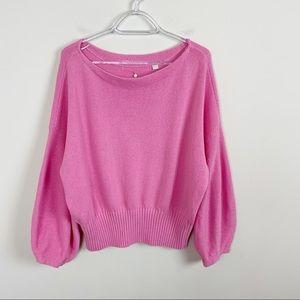 Anthropologie Pink Balloon Sleeve Sweater